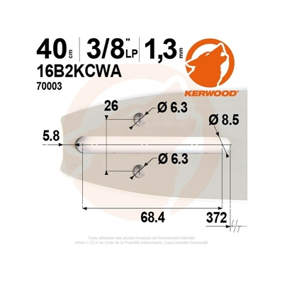 Guide tronçonneuse KERWOOD 40 cm 3/8LP 1.3mm