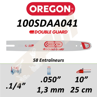 Guide de tronçonneuse OREGON 100SDAA041 1/4 1.3 mm 25 cm