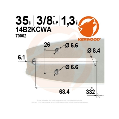 Guide tronçonneuse KERWOOD 35 cm 3/8LP 1.3mm